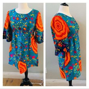 vintage made in HAWAII mod psychedelic blue dress